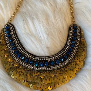 Gold sequin and blue stone statement necklace